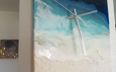 Ocean Wave Resin Clock