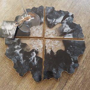 Resin Coasters, set of 4, geode black, white